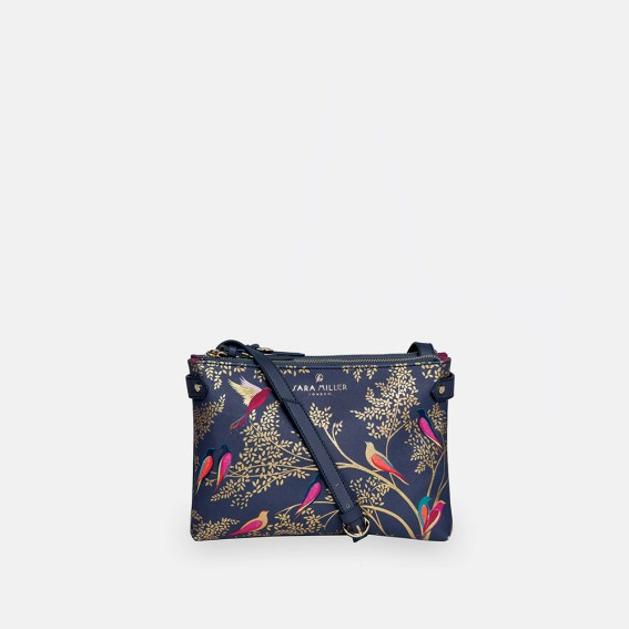 Smokey Blue Birds Zip Top Crossbody Bag