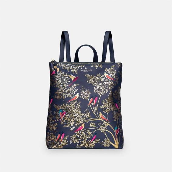 Smokey Blue Birds Zip Top Backpack