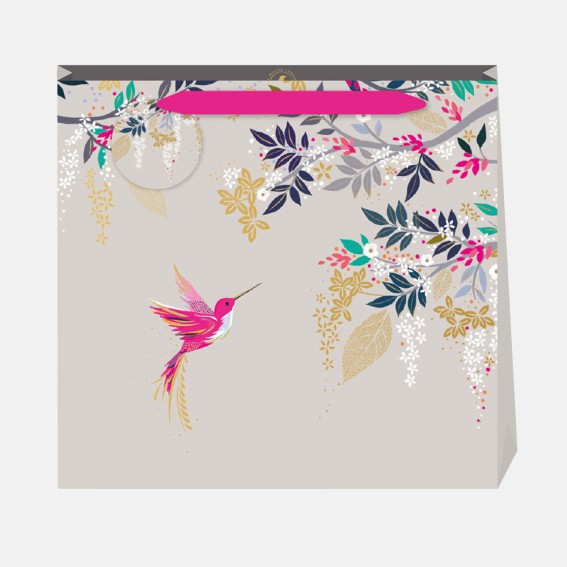 Grey Hummingbird Large Gift Bag