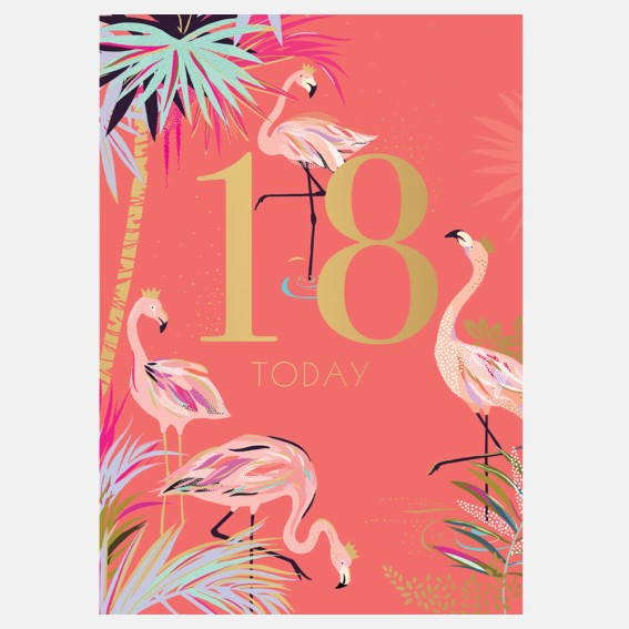 Fabulous Flamingo 18th Birthday Card