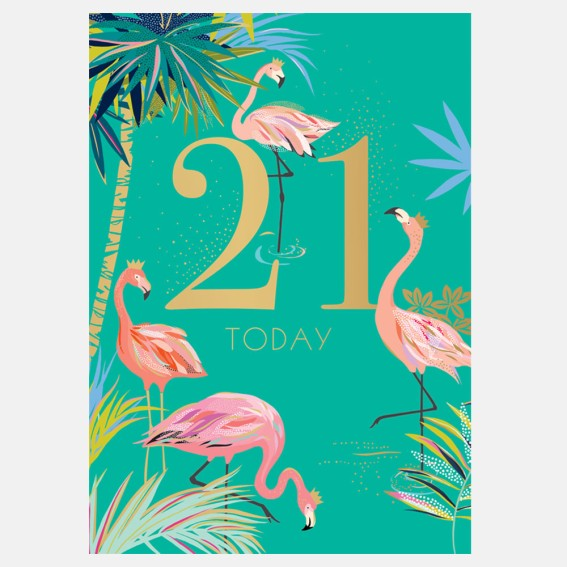 Fabulous Flamingo 21st Birthday Card