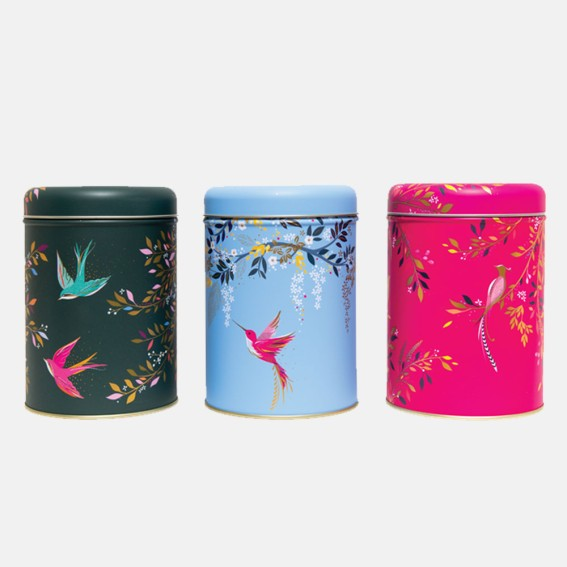 Set of 3 Round Tin Caddies - Swallows, Hummingbird and Bird of Paradise