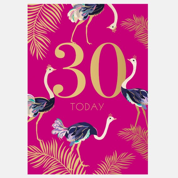 Striking Ostriches 30th Birthday Card