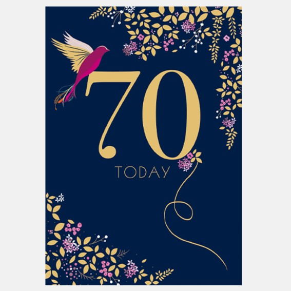 Hummingbird 70th Birthday Card