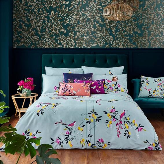 Duck Egg Orchard Birds Double Duvet Cover & Pillowcase Set