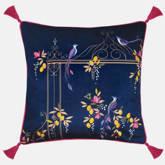 Navy Orchard Birds & Gate Feather Filled Cushion