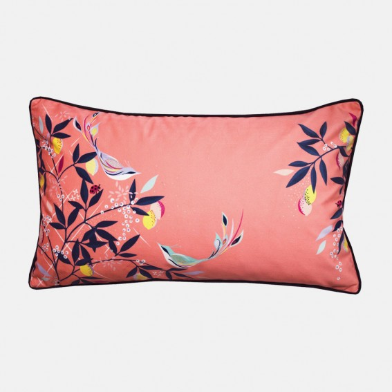 Coral Orchard Birds Feather Filled Cushion