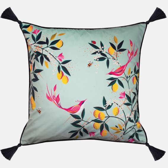 Duck Egg Orchard Birds Feather Filled Cushion