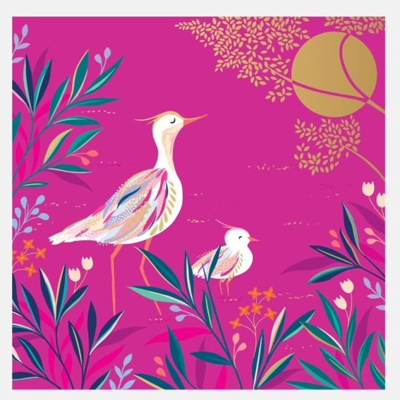 Elegant Pink Birds Card