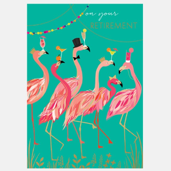 Flamingo Cocktail Party Retirement Card