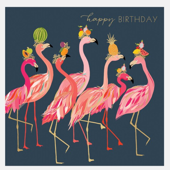 Fabulous Flamingo Line Birthday Card