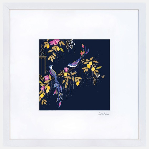 Navy Orchard Birds Large Wall Art