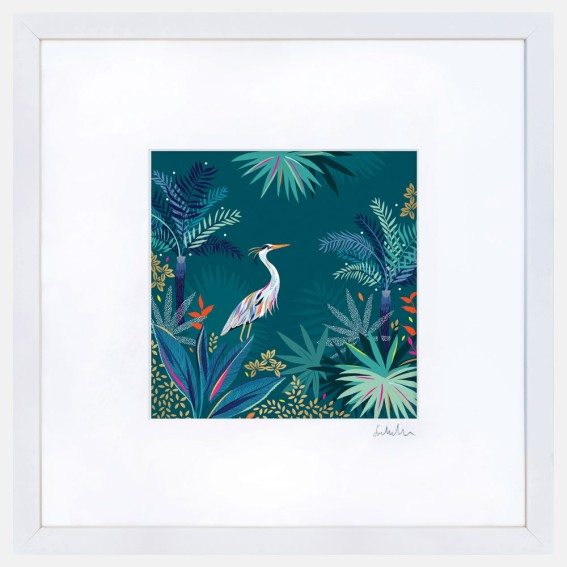 Teal Heron Large Wall Art