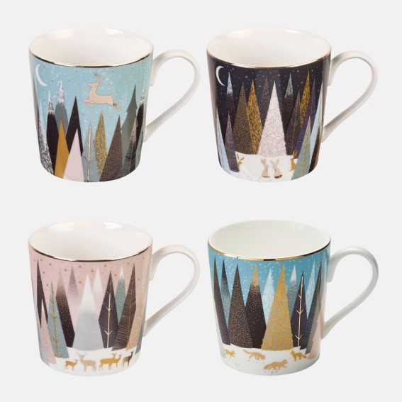 Frosted Pines Mugs - Assorted Set of 4