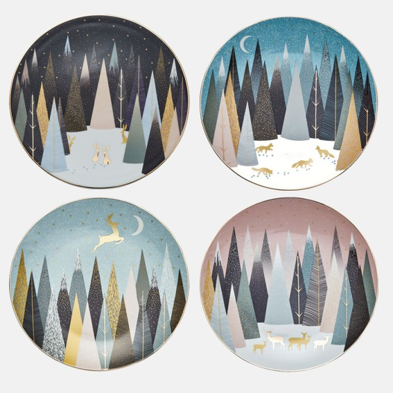 Frosted Pines Plates - Assorted Set of 4