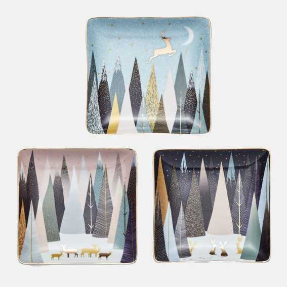 Frosted Pines Square Dishes - Set of 3