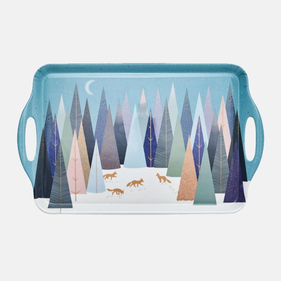 Frosted Pines Large Handled Melamine Tray