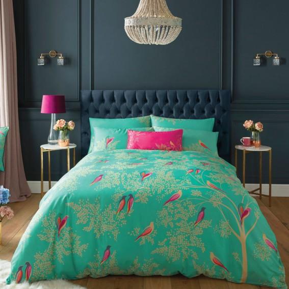 Green Birds King Duvet Cover and Pillowcase Set