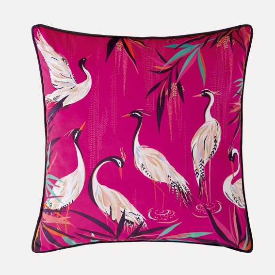 Pink Heron Feather Filled Cushion