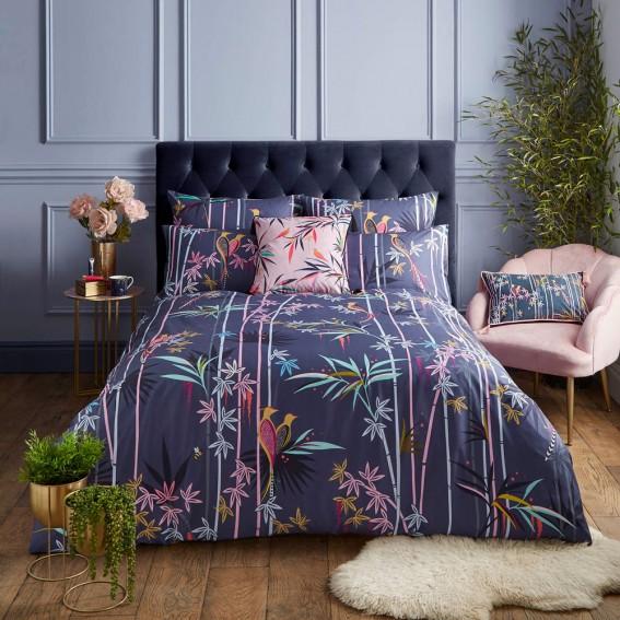 Smokey Blue Bamboo Trees Double Duvet Cover & Pillowcase Set