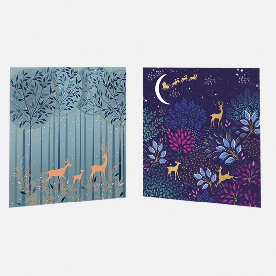 Magical Deer Christmas Cards - Assorted Set of 10