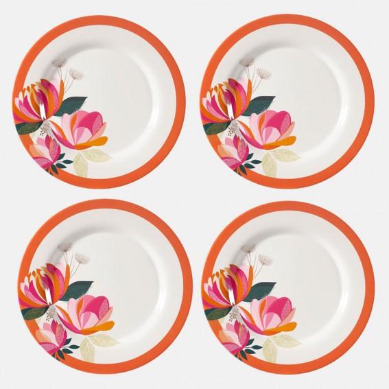 Peony Melamine Dinner Plate - Set of 4