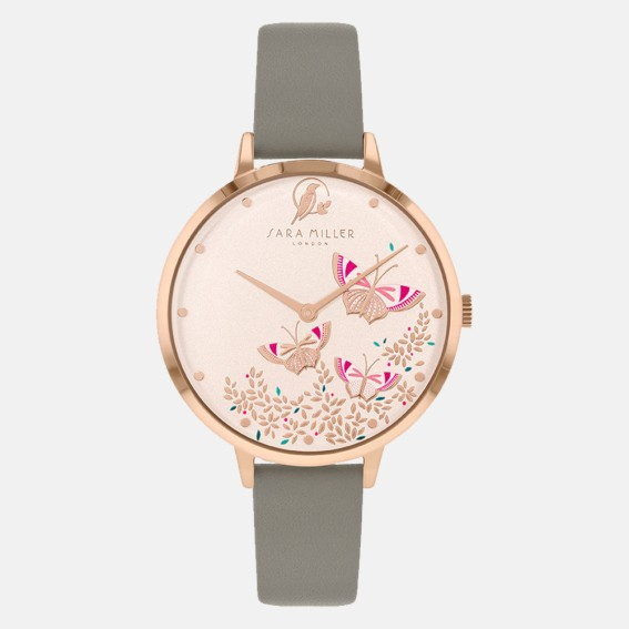 Butterfly Rose Gold Grey Watch