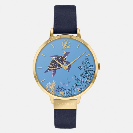 Turtle Gold Navy Watch