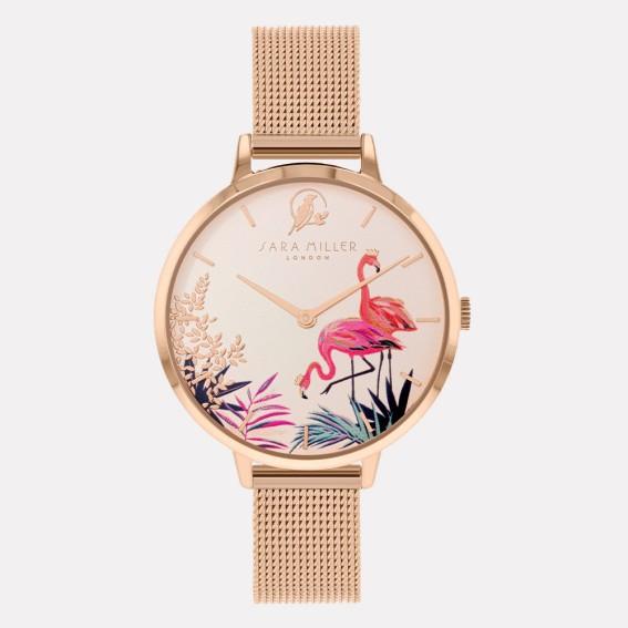 Flamingo Rose Gold Mesh Watch
