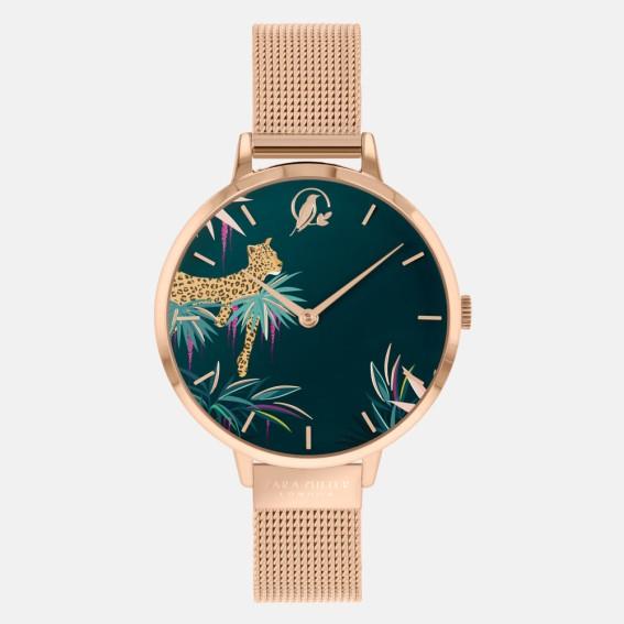 Forest Green Leopard Gold Mesh Watch