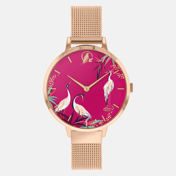 Pink Herons Gold Mesh Watch