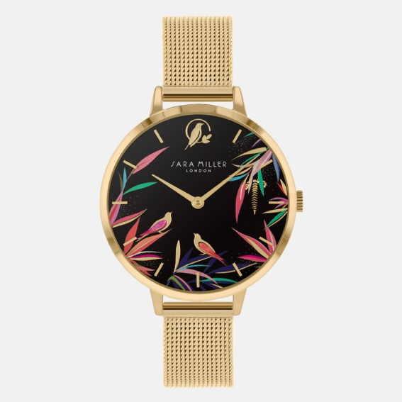 Black Bamboo Gold Mesh Watch