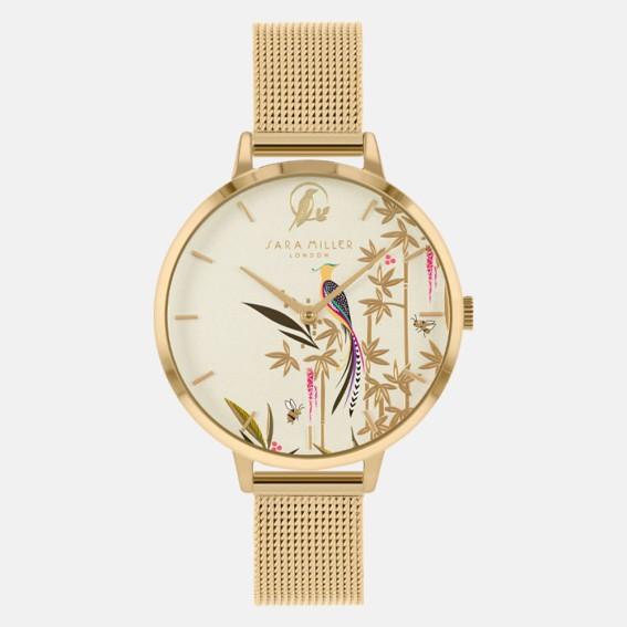 Tropical Bird Gold Mesh Watch