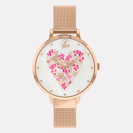 Blossom Heart Rose Gold Mesh Watch