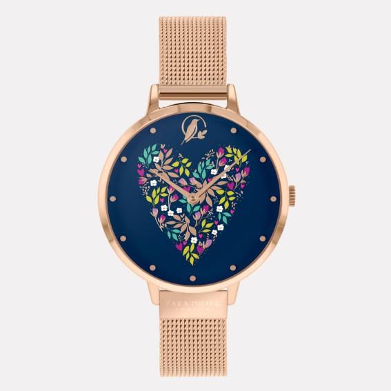 Navy Heart Rose Gold Mesh Watch
