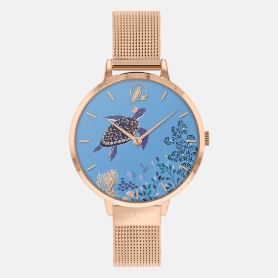 Turtle Rose Gold Mesh Watch
