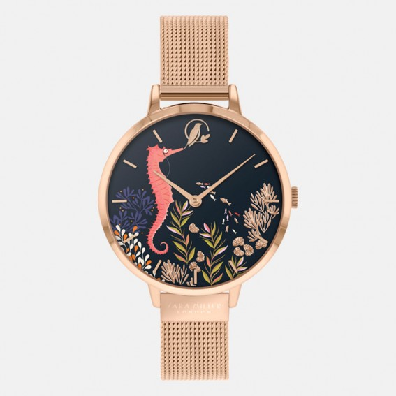 Seahorse Rose Gold Mesh Watch