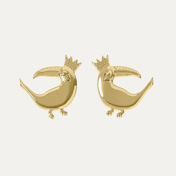 Toucan Gold Stud Earrings