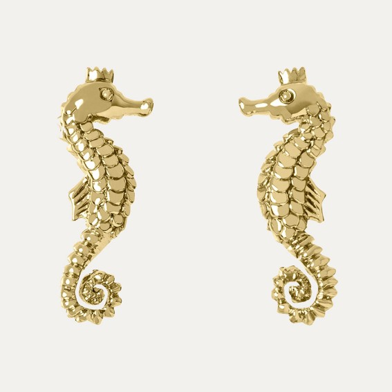 Seahorse Gold Stud Earrings