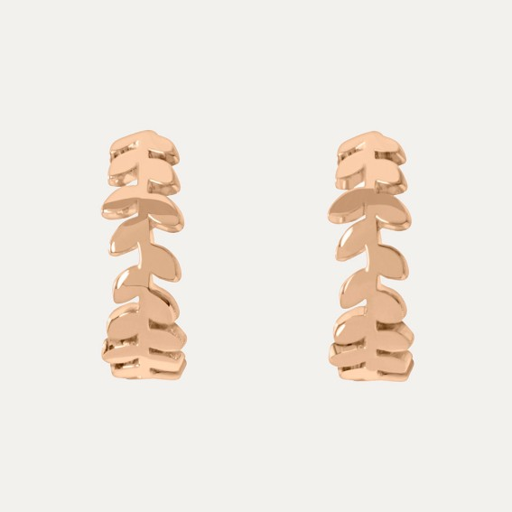 Falling Leaf Rose Gold Small Hoop Earrings