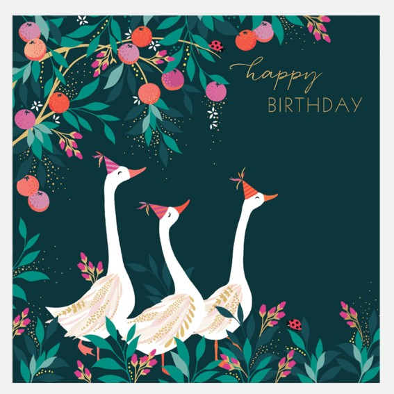 Orchard Geese Birthday Card