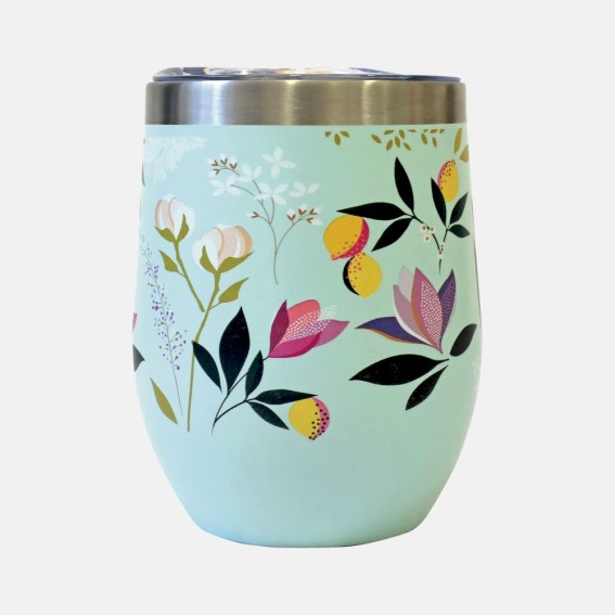 Duck Egg Orchard Floral Travel Tumbler