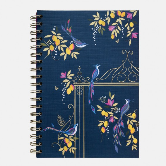 Navy Orchard Birds B5 Notebook