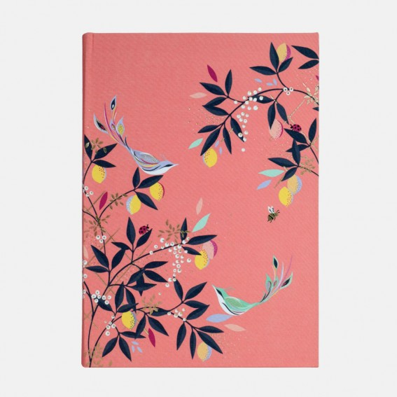 Coral Orchard Birds A5 Fabric Journal