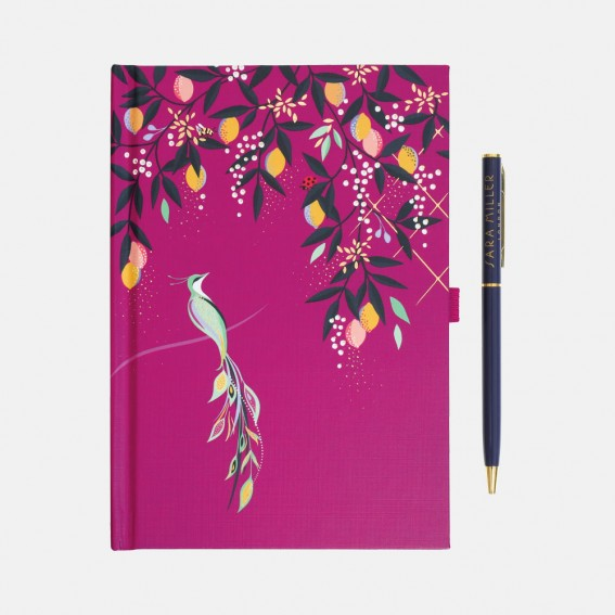 Mauve Orchard Birds Notebook & Pen