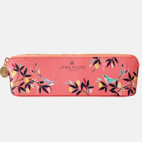Coral Orchard Birds Slim Pencil Case