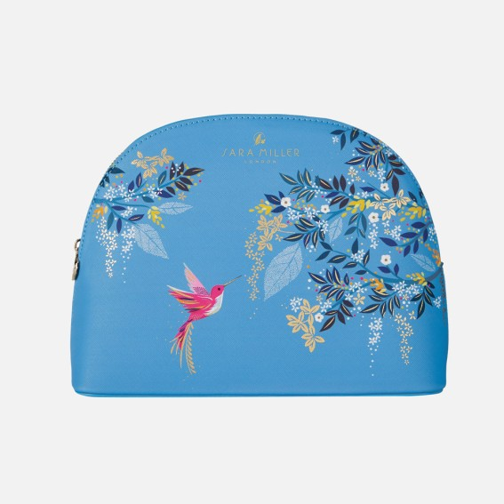 Large Light Blue Hummingbird Cosmetic Bag