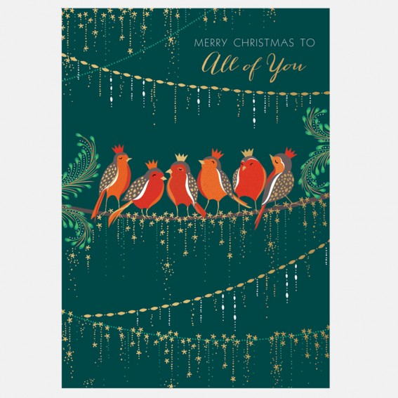 Row of Robins All of You Christmas Card