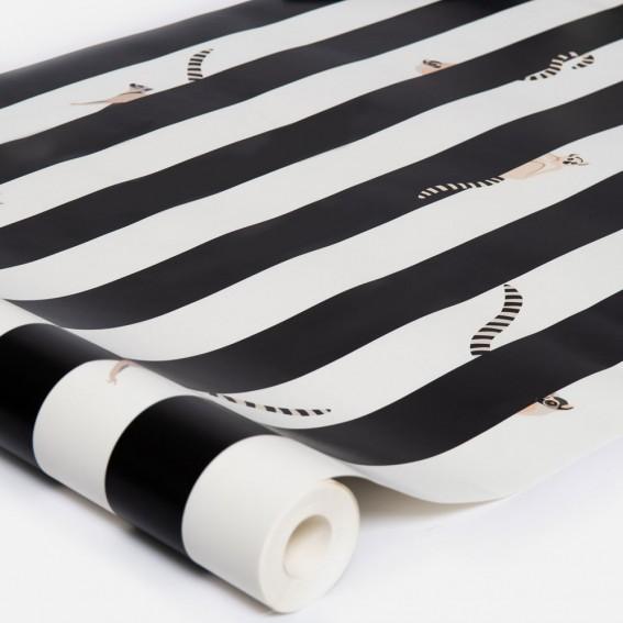 Lemur Striped Wallpaper