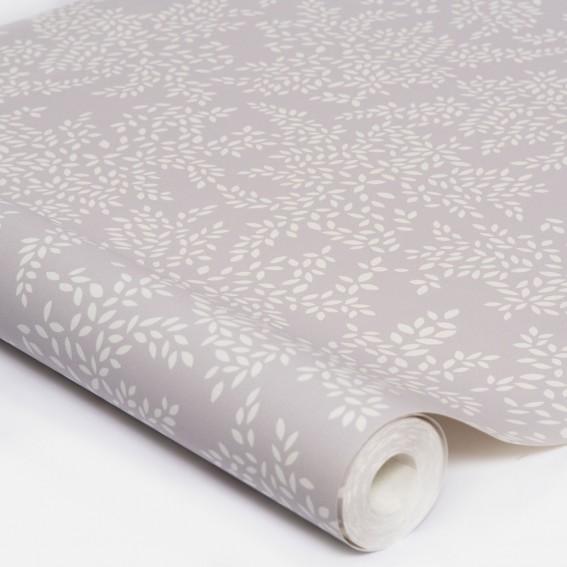 Little Leaves Pale Grey Wallpaper